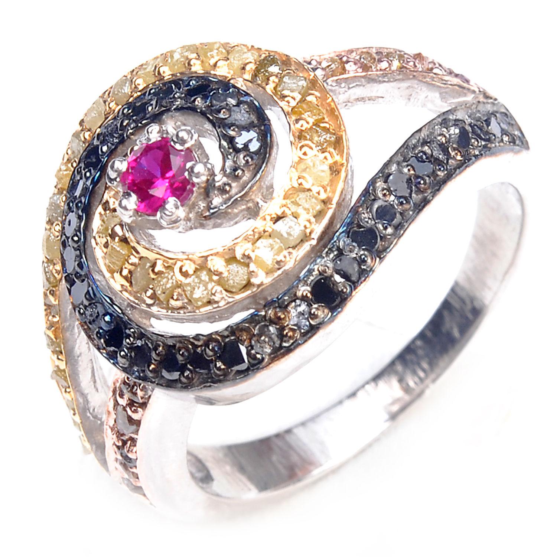 טבעת כסף בשיבוץ יהלומי גלם 1.46 קרט וזירקון אדום ושחור מידה: 7.5