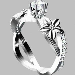 טבעת כסף בשיבוץ יהלומי גלם וזירקון מרכזי 0.69 קרט מידה: 7