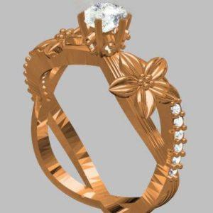 טבעת כסף 925 בציפוי זהב אדום בשיבוץ יהלומי גלם 0.70 קרט מידה: 7