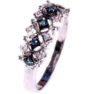 טבעת כסף 925 בשיבוץ יהלומי גלם 0.25 קרט וזירקונים כחול מידה: 7.5