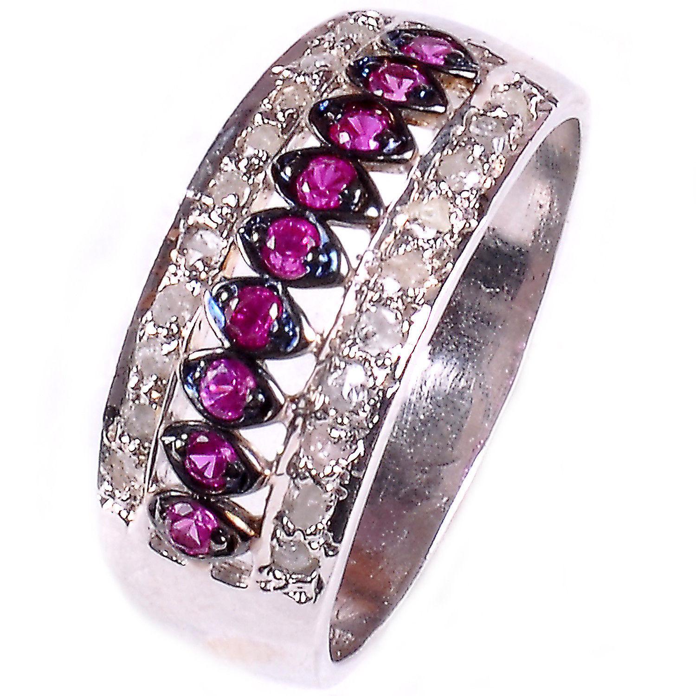 טבעת כסף בשיבוץ יהלומי גלם 0.58 קרט וזירקונים סגול מידה: 7