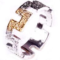 טבעת כסף בשיבוץ יהלומי גלם לבנים וזהובים 0.48 קרט מידה: 7.5