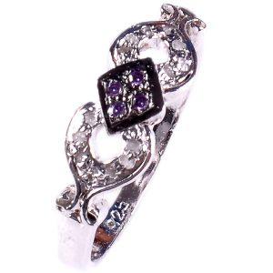טבעת כסף 925 בשיבוץ יהלומי גלם 0.36 קרט וזירקונים סגול מידה: 8