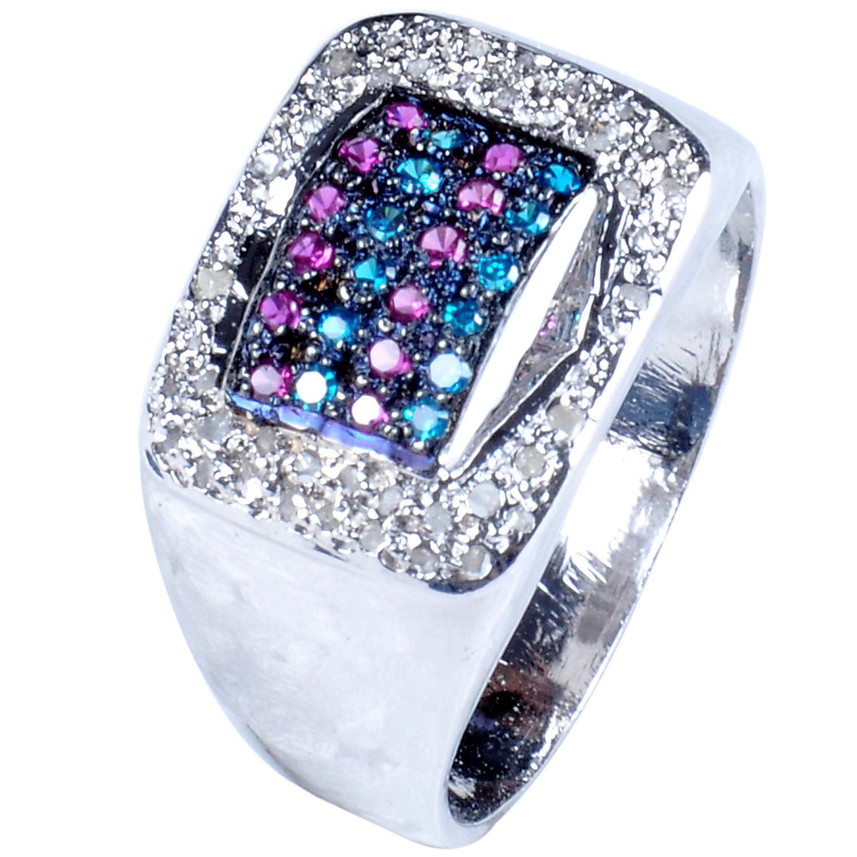 טבעת כסף 925 בשיבוץ יהלומי גלם 1.30 קרט וזירקונים כחול סגול מידה:9