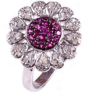 טבעת כסף 925 בשיבוץ יהלומי גלם 1.16 קרט וזירקונים סגול מידה: 7