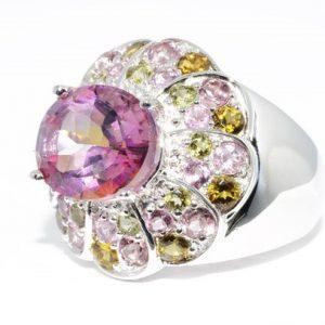 טבעת כסף בשיבוץ טופז ורוד ריינבו וטורמלין בצבעים