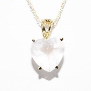 שרשרת ותליון זהב צהוב בשיבוץ אבן רוז קוורץ לב