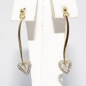 """עגילי זהב צהוב בשיבוץ 6 יהלומים לבנים אורך: 2.54 ס""""מ"""