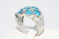 טבעת כסף 925 בשיבוץ 5 אבני טורמלין תכלת 4.00 קרט משקל: 7.88 גרם מידה: 8.25