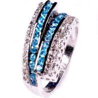 טבעת כסף 925 בשיבוץ יהלומי גלם 1.00 קרט וזירקונים כחול מידה: 7.5