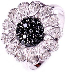טבעת כסף 925 בשיבוץ יהלומי גלם לבן ושחור 1.15 קרט מידה: 7