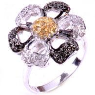 טבעת כסף 925 בשיבוץ יהלומי גלם לבנים ויהלומי גלם זהובים 1.56 קרט מידה: 7.5