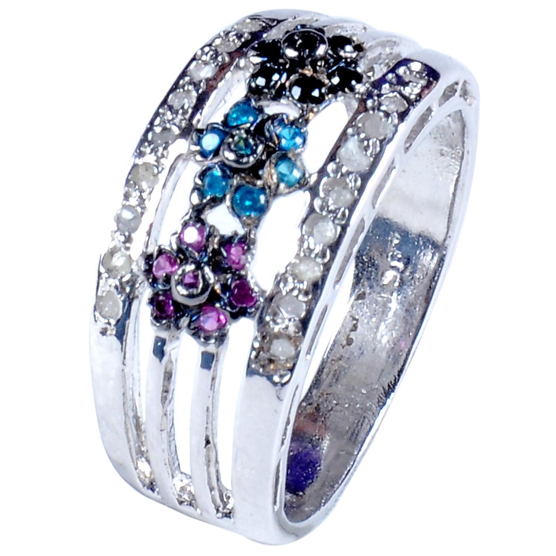 טבעת כסף 925 בשיבוץ יהלומי גלם 0.77 קרט וזירקונים סגול שחור וכחול מידה: 7