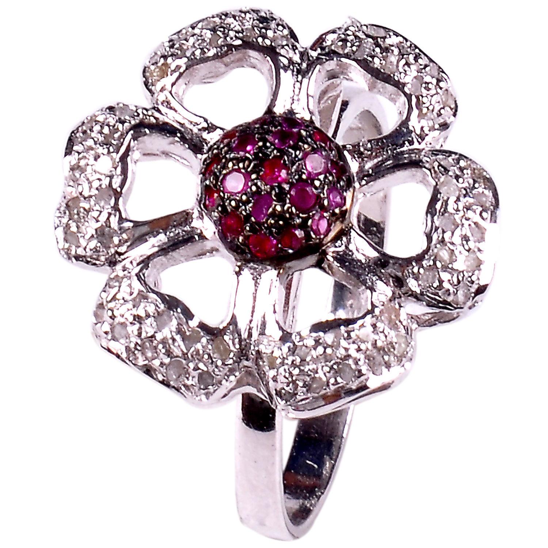 טבעת כסף 925 בשיבוץ יהלומי גלם 1.58 קרט זירקונים אדום מידה:7.5
