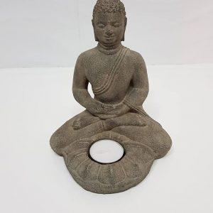 """פסל בודהה גדול מעמד לנר משקל: 1.228 ק""""ג גובה: 18.5"""
