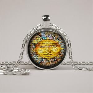 תליון ושרשרת מוכסף סמל השמש גווני כתום
