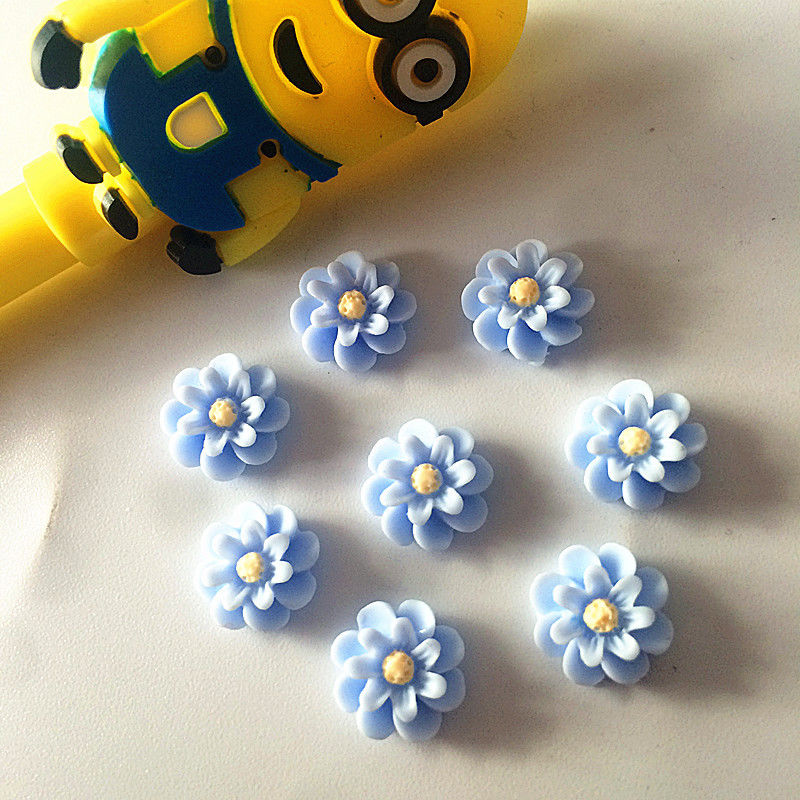 20 פרחים לעבודת יד להדבקה גווני תכלת צהוב