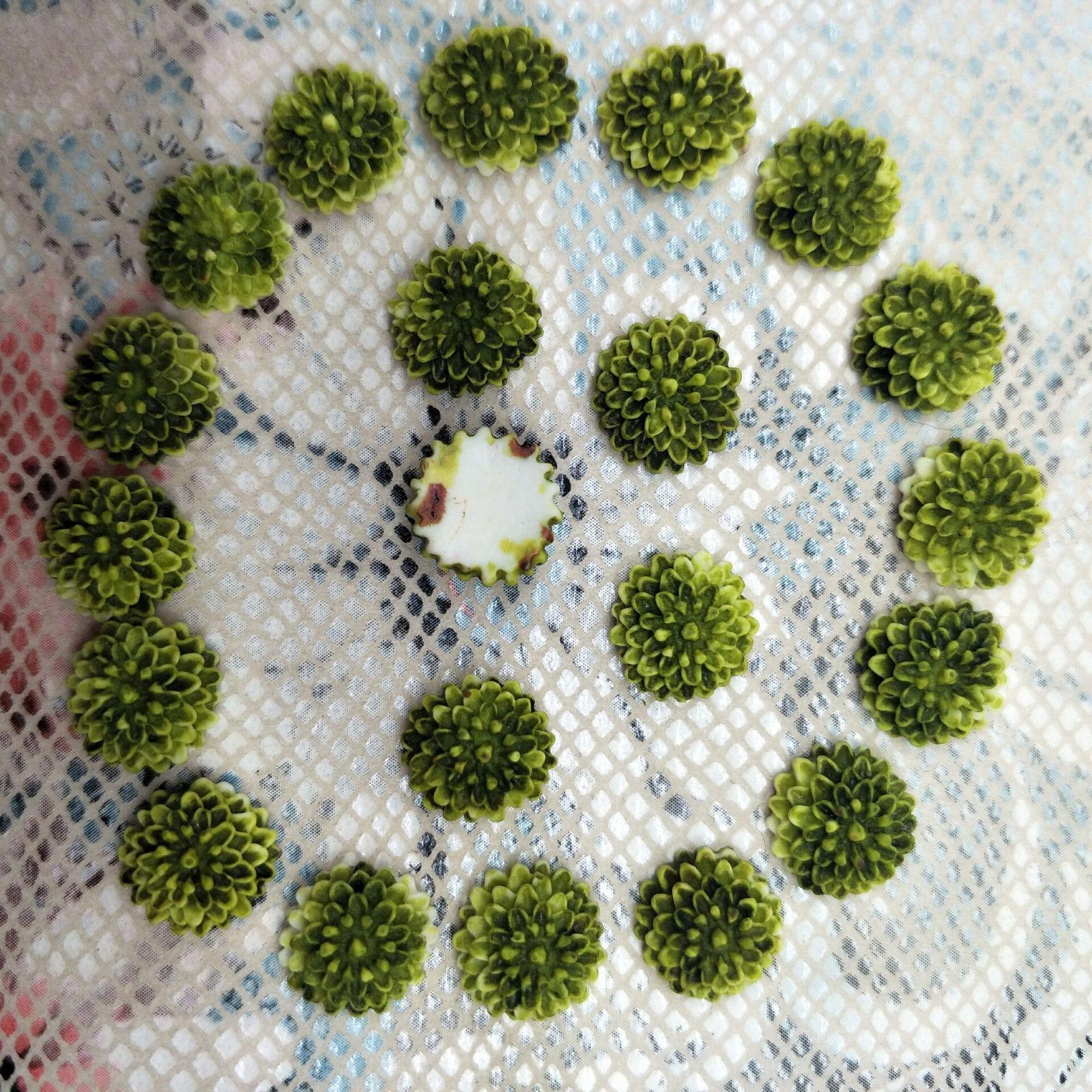 20 פרחים לעבודות יד להדבקה גווני ירוק זית