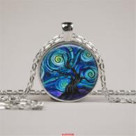 תליון ושרשרת מוכסף סמל עץ החיים גווני כחול ירוק