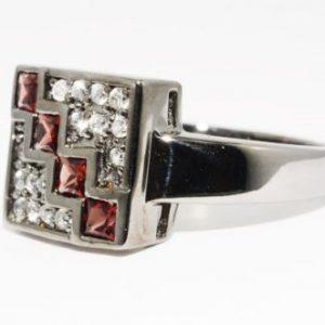טבעת יוקרה כסף 925 בשיבוץ זירקון אדום וטופז לבן מידה: 10