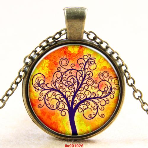 תליון ושרשרת ברונזה סמל עץ החיים גווני כתום צהוב