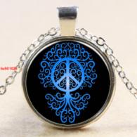 תליון ושרשרת מוכסף סמל עץ החיים וסמל השלום גווני כחול
