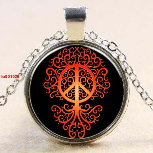תליון ושרשרת מוכסף סמל עץ החיים וסמל השלום גווני כתום אדום