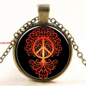 תליון ושרשרת ברונזה סמל עץ החיים וסמל השלום גווני כתום אדום