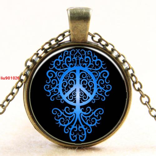 תליון ושרשרת ברונזה סמל עץ החיים וסמל השלום גווני כחול