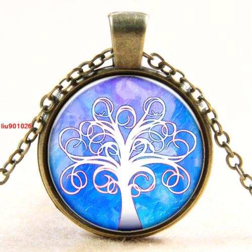 תליון ושרשרת ברונזה סמל עץ החיים גווני לבן וכחול סגול