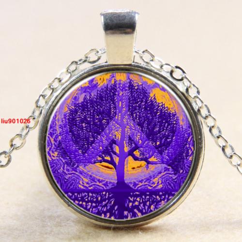 תליון ושרשרת מוכסף סמל עץ החיים וסמל השלום גווני סגול וכתום