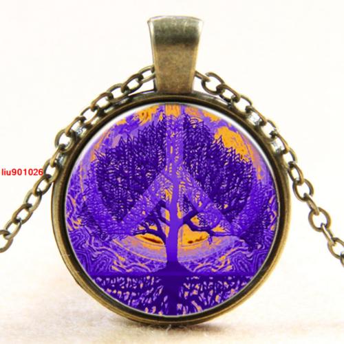 תליון ושרשרת ברונזה סמל עץ החיים וסמל השלום גווני סגול וכתום