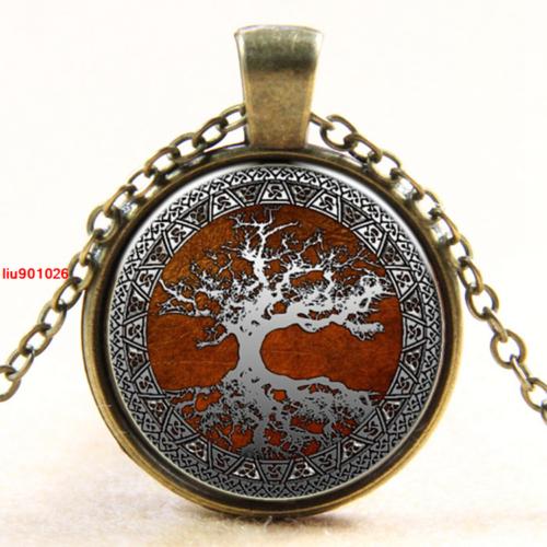 תליון ושרשרת ברונזה סמל עץ החיים גווני לבן חום אדום