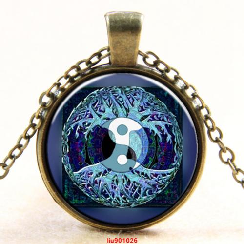 תליון ושרשרת ברונזה סמל עץ החיים וסמל יין ויאנג גווני כחול