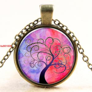 תליון ושרשרת ברונזה סמל עץ החיים גווני ורוד סגול