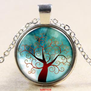 תליון ושרשרת מוכסף סמל עץ החיים גווני חום ירוק