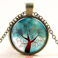 תליון ושרשרת ברונזה סמל עץ החיים גווני חום ירוק