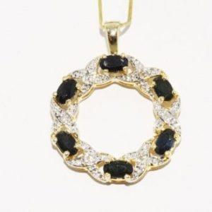 תכשיט יוקרה תליון כסף 925 וציפוי זהב בשיבוץ יהלומים וספירים