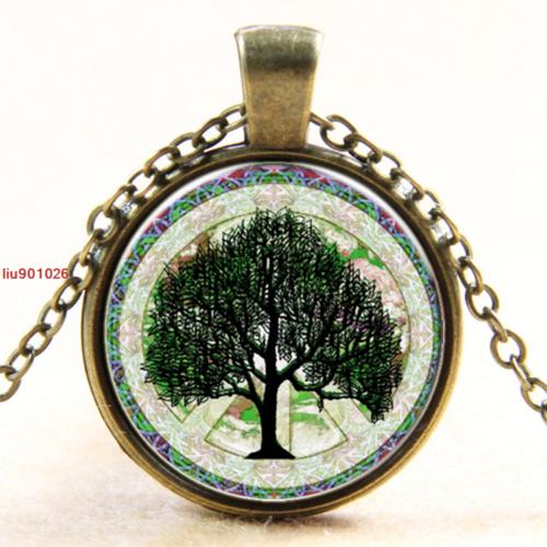 תליון ושרשרת ברונזה סמל עץ החיים גווני ירוק