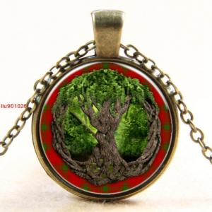 תליון ושרשרת ברונזה סמל עץ החיים גווני ירוק אדום