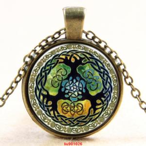תליון ושרשרת ברונזה סמל עץ החיים גווני ירוק כתום