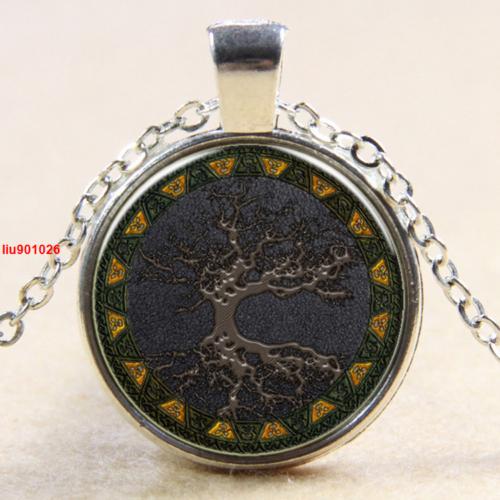 תליון ושרשרת מוכסף סמל עץ החיים גווני חום שחור