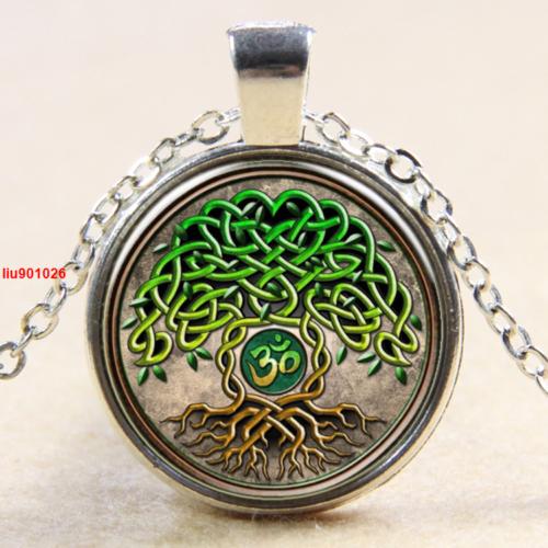 תליון ושרשרת ברונזה סמל עץ החיים גווני ירוק חום
