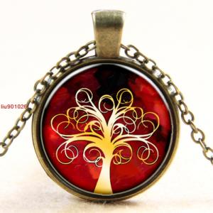 תליון ושרשרת ברונזה סמל עץ החיים גווני אדום כתום