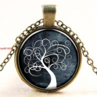 תליון ושרשרת ברונזה סמל עץ החיים גווני לבן אפור ירקרק