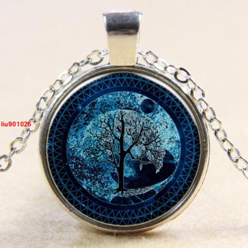 תליון ושרשרת ברונזה סמל עץ החיים גווני כחול