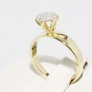 טבעת זהב צהוב בשיבוץ 7 יהלומים מידה: 5