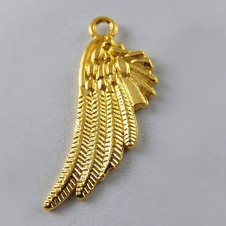 """תליון כנף מלאך מוזהב מידה: 11*26 מ""""מ"""