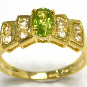טבעת כסף ציפוי זהב בשיבוץ פרידות וטופז לבן מידה: 7