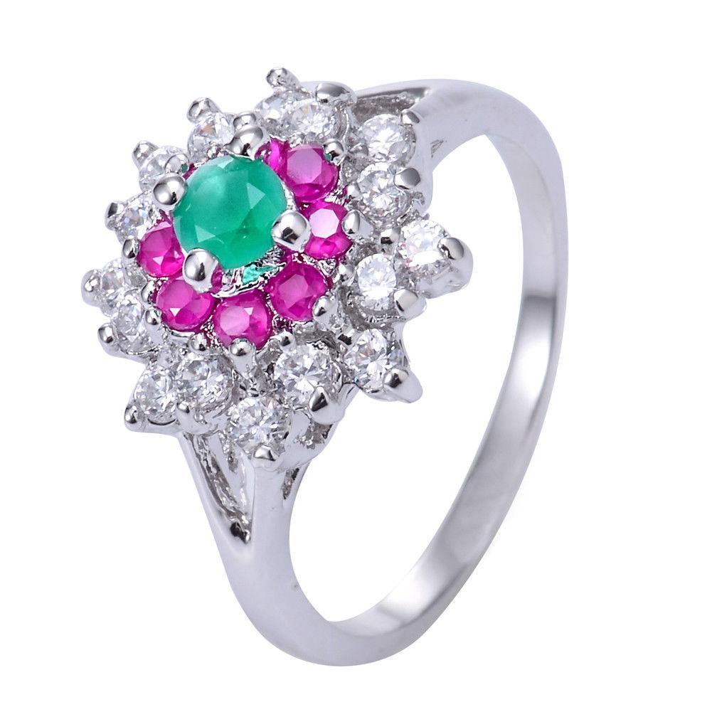טבעת כסף בשיבוץ רובי, אמרלד וטופז לבן מידה: 7 הטבעת: 4.2 גרם